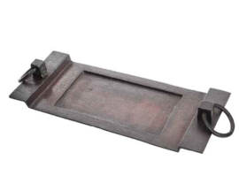 Antiek bruine aluminium tray met handvaten