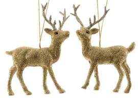 Rendier goud kersthanger voor in de boom/kerstbakje