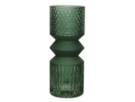 Groene glazen vaas met reliëf in totemvorm