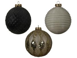 Kerstbal met motiefje - zwart, grijs en bruin