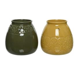Pot van aardewerk met glazuurafwerking - 2 assorti