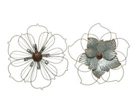 Muurdecoratie bloem van ijzer en zink
