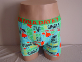 "SALE! Funderwear Boxershort ""Dating-Wanna Date?"" Turqoise"