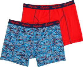 2x Australian Heren Blauw-Rood Geometric