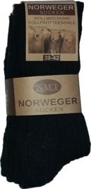 6x Naft Noorse Geiten Wollen Sokken Zwart