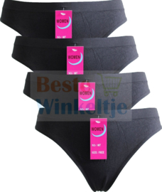 4x Basic Women Naadloze Strings Zwart