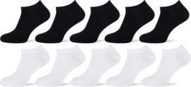 10x Sneakersokken Zwart+Wit Naft Unisex