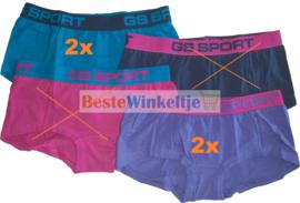 4x GS Sport Dames Boxers Effen