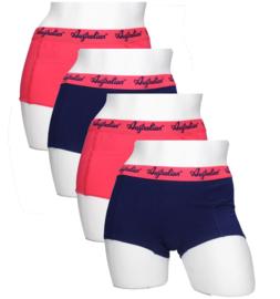 4x Australian Dames  Boxers Blauw-Roze