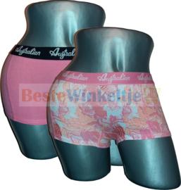 2x Australian Dames Bloemen Wit/Roze