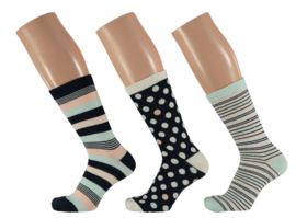 6x Apollo Dames Sokken Assortie Mintgroen/Roze
