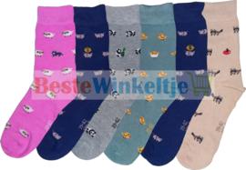 """6x Dames sokken """"Beestenboel"""""""