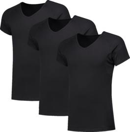 3x NAFT T-shirt V-hals Slim-fit lang Zwart