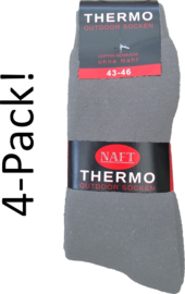 4x Naft Thermosokken Heren Outdoor Grijs