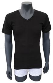 6x NAFT T-shirt V-hals Slim-fit lang Zwart