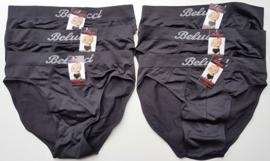 6x Belucci naadloze Herenslips Zwart