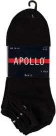6x Apollo heren sneakersokken  Zwart 47-50