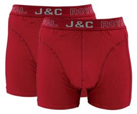 J&C Herenboxer Bordeaux Rood 2-Pack