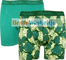 2x Australian Heren Boxers Leaves Green