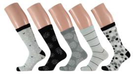 10x Apollo Dames Sokken Assortie Mintgroen/Grijs