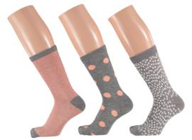 6x Apollo Dames Sokken Assortie Roze