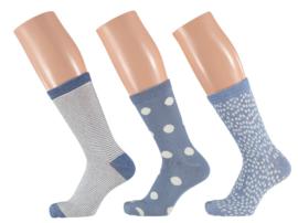 6x Apollo Dames Sokken Assortie Lichtblauw