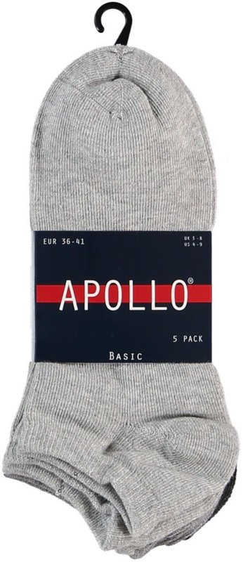 6x Apollo heren sneakersokken Multi-Grijs