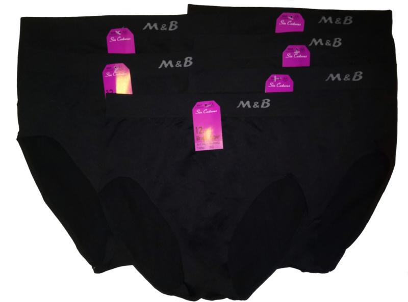 6x M&B Dames slip Zwart Naadloos