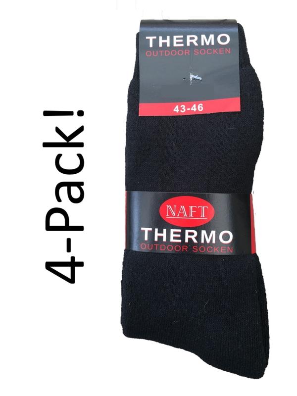 4x Naft Thermosokken Outdoor Zwart