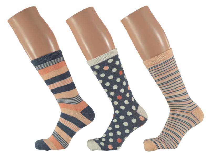 6x Apollo Dames Sokken Assortie Zalm/Roze