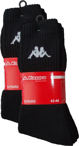 6x Kappa Heren sokken zwart