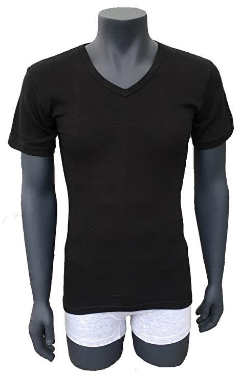 3x NAFT T-shirt V-hals Slim-fit Zwart