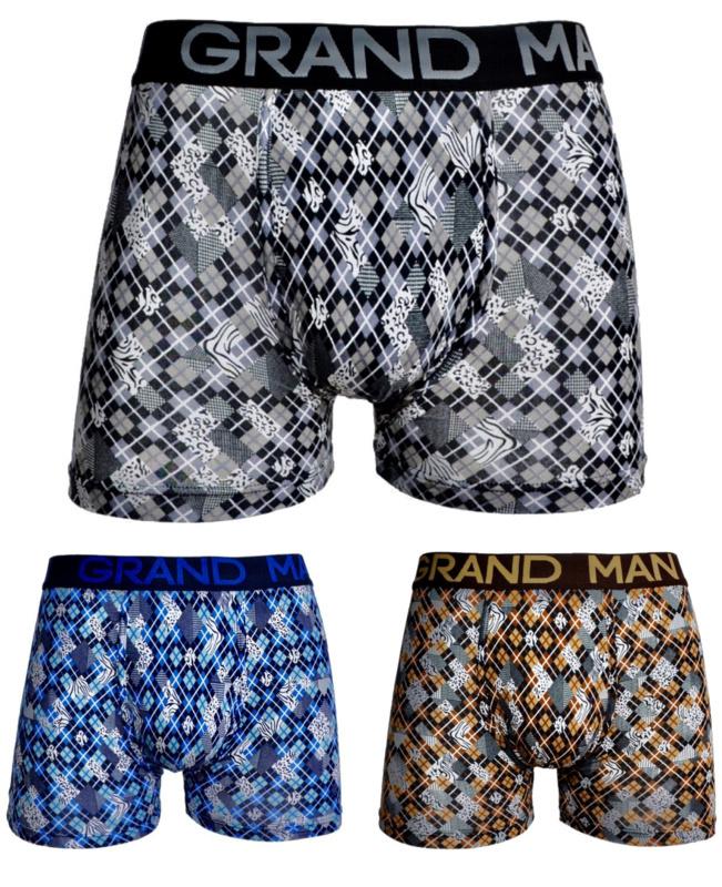 """3x Grand Man Heren Boxers """"Ruitjes"""" 5033"""