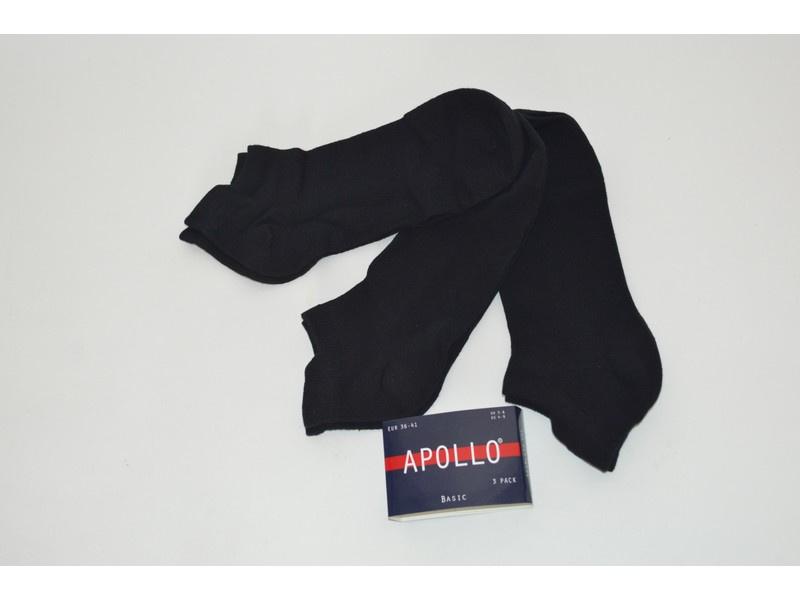 6x Apollo Zwarte sneakersokken Mt 36-41