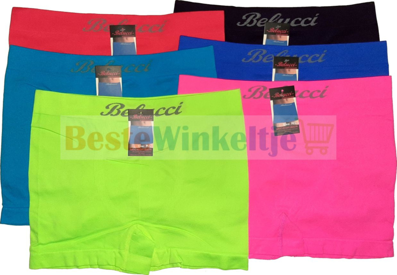 6x Belucci naadloze Herenboxers Color Pack Fel