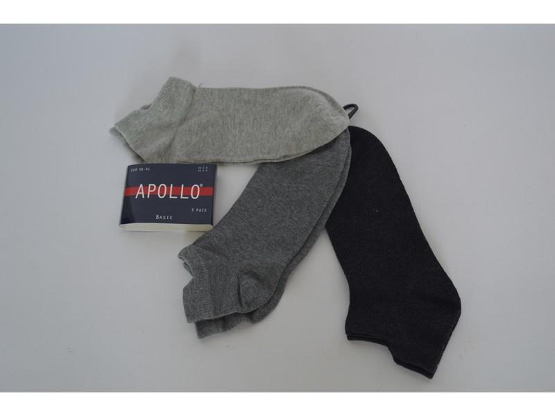 6x Apollo grijze sneakersokken Mt 36-41