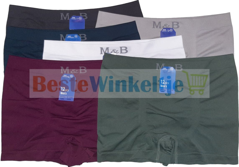 6x XXXL M&B naadloze Herenboxers Color