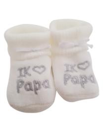 Slofjes I love papa wit