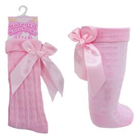 Kniekous hartjes met strik roze