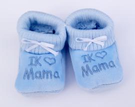 Slofjes I love mama blauw