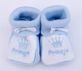 Slofjes Prinsje blauw/wit