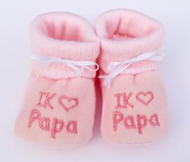 Slofjes I love papa roze
