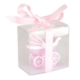 Kaars kinderwagen roze