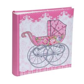 Fotoalbum kinderwagen roze