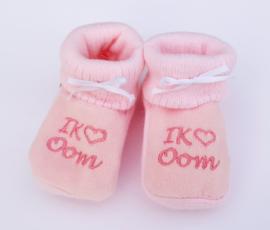 Slofjes I love oom roze
