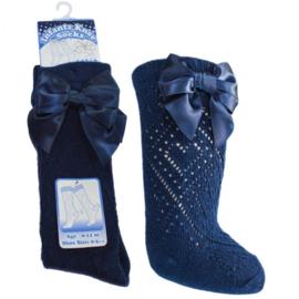 Kniekous pelerine met strik donker blauw