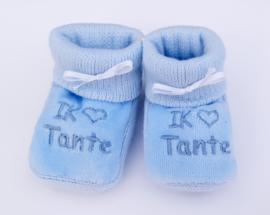 Slofjes I love tante blauw