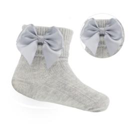 Baby - peuter sokjes met strik grijs