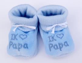 Slofjes I love papa blauw
