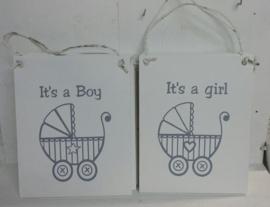 Kinderwagen paneel It's a Boy / Girl